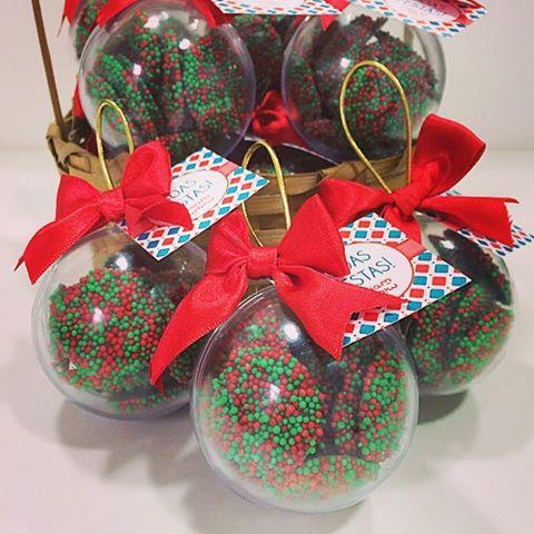 Bola Natalina com drágeas de chocolate belga (30 caixinhas) laco natalino