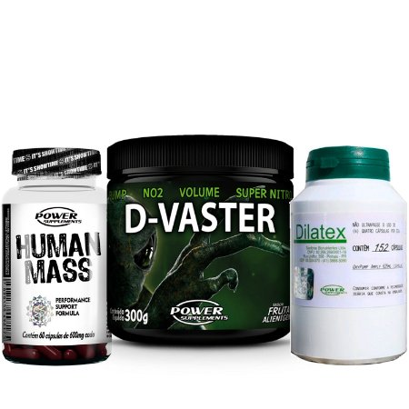 Dilatex, Human Mass e D-Vaster - Combo Massa Muscular