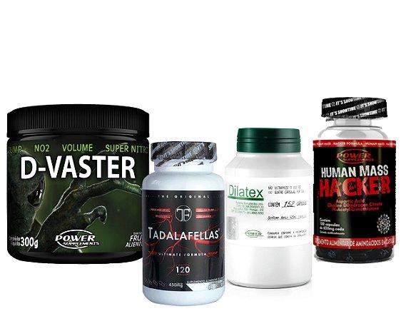 D-Vaster + Dilatex + Human Mass Hacker + Tadalafellas 450mg - Combo Massa!
