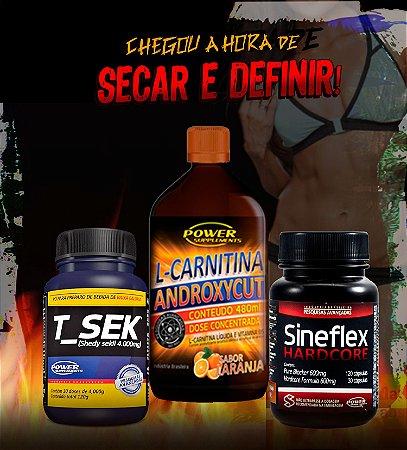Combo Sineflex Hardcore, Diurético T_Sek e L-Carnitina Androxycut