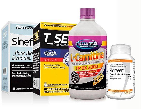 Sineflex, T_Sek, L-Carnitina e Florazen - Combo Power Supplements