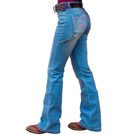 Calça Jeans Feminina Flare Carpinteira Bordada