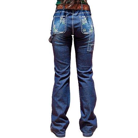 Calça Jeans Feminina Flare Carpinteira Bordada Alabama