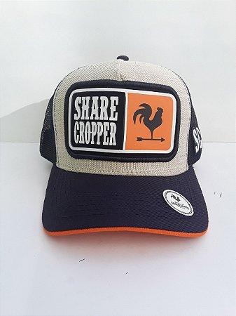 Boné Share Cropper trucker Original Preto/Branco Laranja