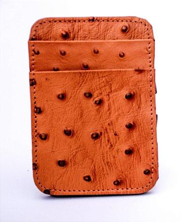 Carteira masculina couro de avetruz porta cartão cincow