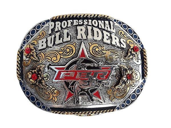 Fivela PBR Profissional Bull Riders com pedras