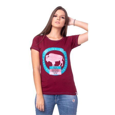 Camiseta Tatanka Feminina Bordô Baby Look