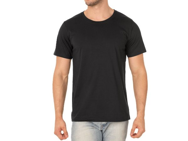 Camiseta De Algodão 30.1 Penteado Preta/branca
