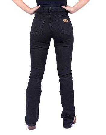 Calça Jeans Feminina Preta Boot Cut com Elastano Wrangler Original