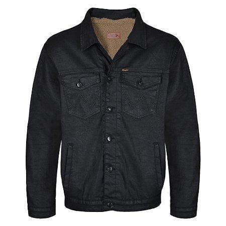 Jaqueta Jeans Wrangler Resinado  Forrada Preta