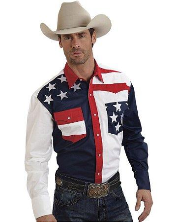 Camisa  country Masculina Roper estampa Flag USA