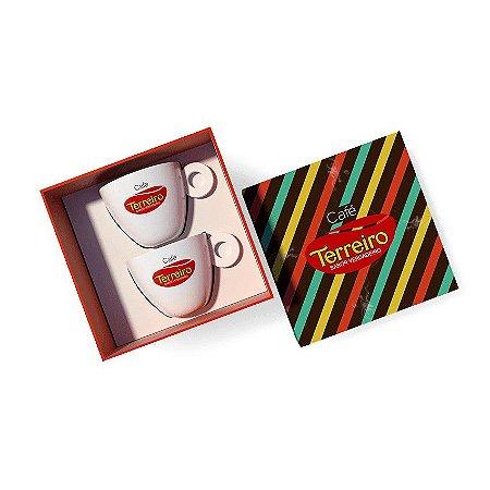 Kit Listras Para Colecionar 2 Xícaras de Café + 2 Pires