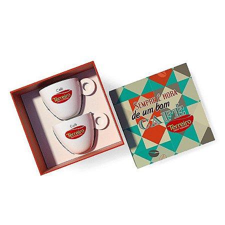Kit Frase Para Colecionar 2 Xícaras de Café + 2 Pires