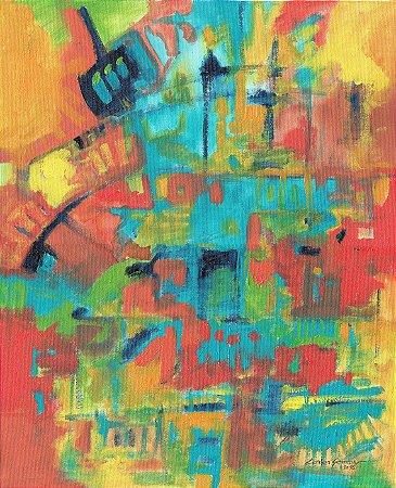 Quadro Decorativo Pintura Abstrata Multicor