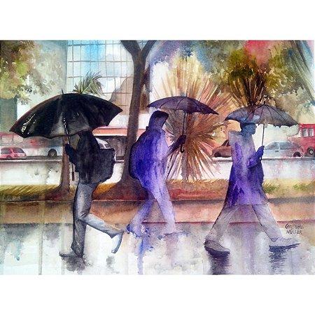Quadro Decorativo Tarde de chuva na Avenida Paulista