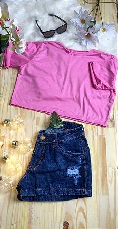 Camiseta Feminina T-Shirt Cropped Season Colors Rosa Bebê