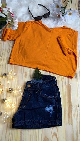Camiseta Feminina T-Shirt Cropped Season Colors Laranja