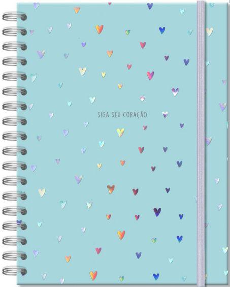 Caderno Colegial - Corações Holográficos - 96 folhas - Fina Estampa