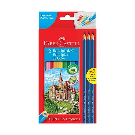 Kit Escolar Faber-Castell - Lápis de Cor 12 Cores + 3 Lápis