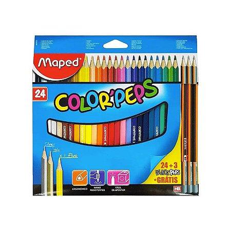 Lápis de Cor Color'Peps 24 Cores + 3 Lápis Grafite Maped