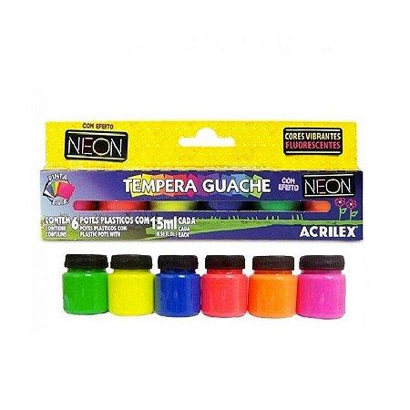 Tinta Guache 6 cores Neon acrilex