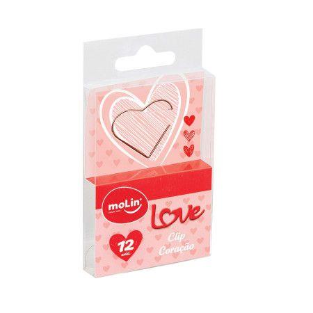 Clipes - Coração Rose Gold - 12 Unidades - Molin
