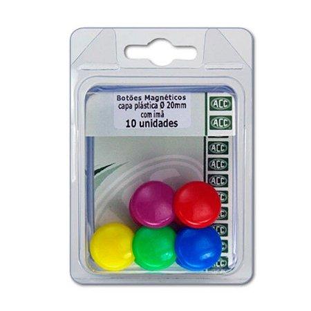 Botões Magnéticos - Capa Plástica - ACC - 20 mm com imã - 10 un