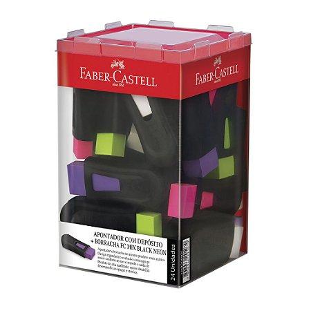 Apontador com depósito + Borracha FC Mix Black Neon - Faber-Castell