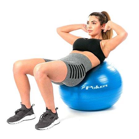 Bola de Pilates Suiça Gym Ball com Bomba de Ar - 65 cm Poker