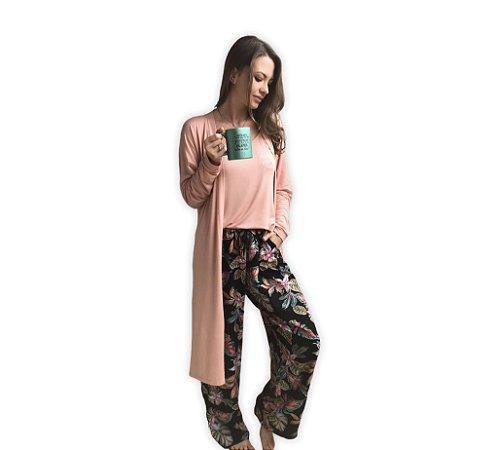 Pijama SARA - Black Tropical (Calça)