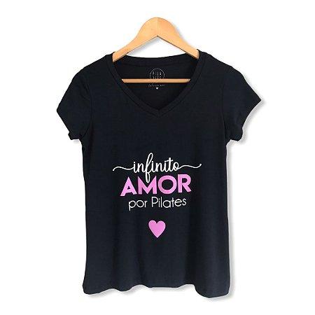 T-shirt INFINITO AMOR POR PILATES - Preta