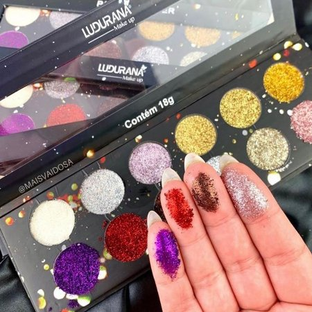 Paleta Glitter 12 Cores Ludurana Makeup