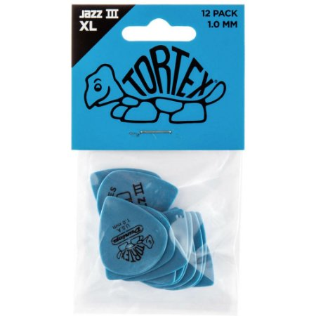 Palheta Dunlop 498P1.0 Tortex Jazz III XL 1.00mm Azul - 12 unidades