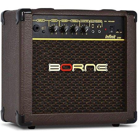 """Amplificador Borne Infinity CV60 combo para violão 15W 1x6"""" Marrom"""