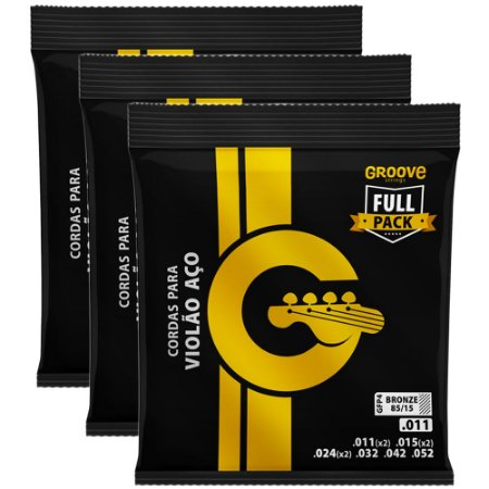 Kit Encordoamento Violão Groove Full Package 011-052 GFP4 - 3 unidades
