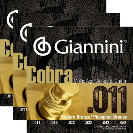 Kit Encordoamento Violão Giannini .011-.052 Cobra Phosphor Bronze GEEFLKF - 3 unidades