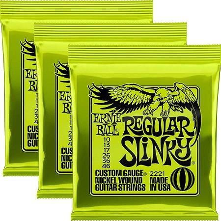 Kit Encordoamento Guitarra Ernie Ball 2221 010-046 Regular Slinky - 3 unidades