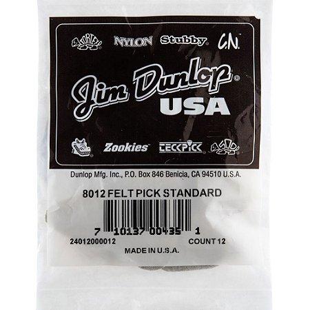 Palheta Dunlop 8012 Felt PK Standard - para Ukulele - 12 un