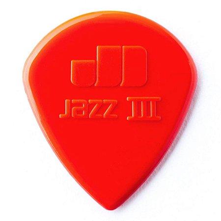 Palheta Dunlop 47R3N Nylon Jazz III Vermelha - Unidade