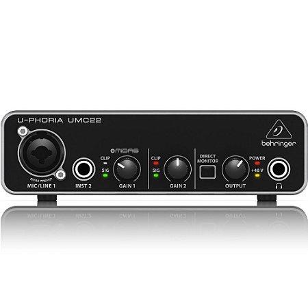 Interface de Audio Behringer U-PHORIA UMC22 - USB