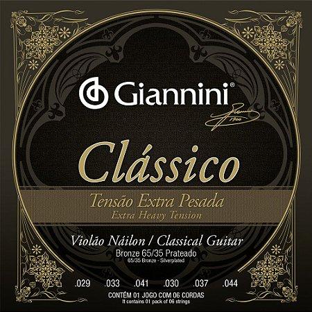 Encordoamento Violão Nylon Giannini GENWXPA Clássico Tensão Extra Pesada