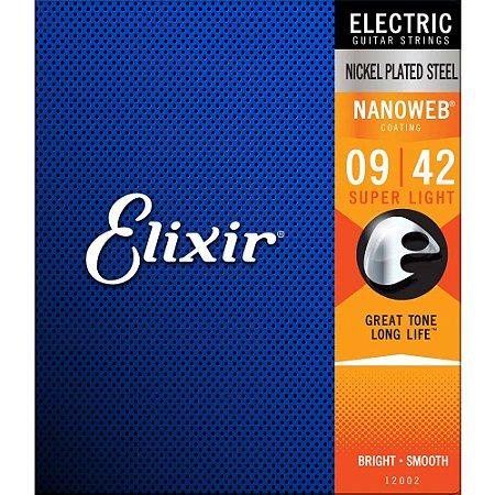Encordoamento Guitarra Elixir 009-042 Nanoweb Super Light 12002
