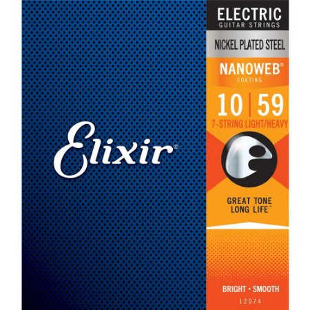Encordoamento Guitarra 7 Cordas Elixir 010-059 Nanoweb Light/Heavy 12074