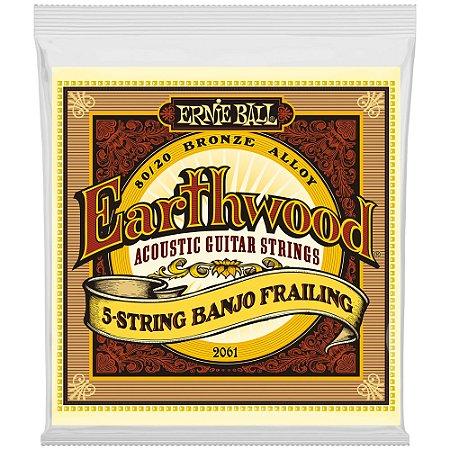 Encordoamento Banjo 5 cordas Ernie Ball 2061 Earthwood Bronze 80/20 Frailing - Loop End