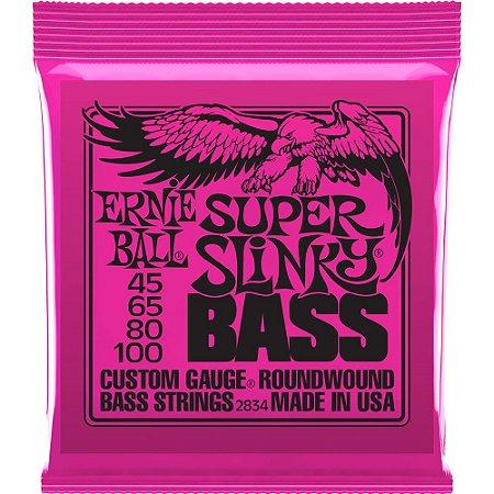 Encordoamento Baixo 4 cordas Ernie Ball 2834 045-100 Super Slinky Bass