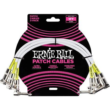 Cabo para Pedais Ernie Ball 6055 30cm branco - pack com 3 unidades