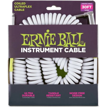 Cabo Ernie Ball 6045 Coiled Ultraflex Cable Branco - espiral - 9,14m