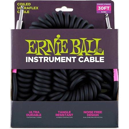 Cabo Ernie Ball 6044 Coiled Ultraflex Cable Preto - espiral - 9,14m