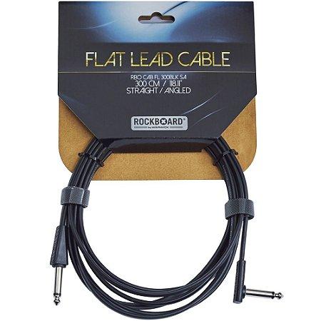 Cabo Rockboard 3,0M Flat Instrument Cable Reto - L RBO CAB FL 300BLK SA