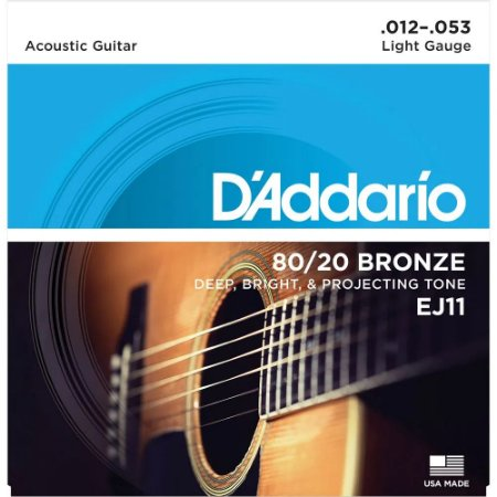 Encordoamento Violão D'Addario 012-053 EJ11 Light 80/20 Bronze